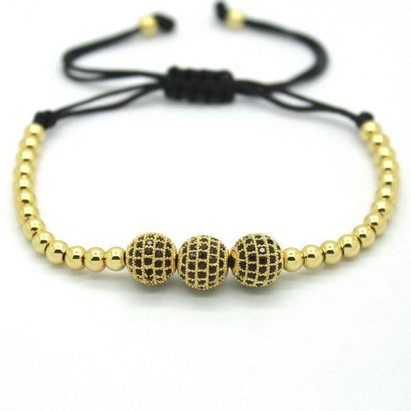 18K Gold Plated Beads 3 Diamond Ball Unisex Bracelet [4 Variations] - Ring to Perfection