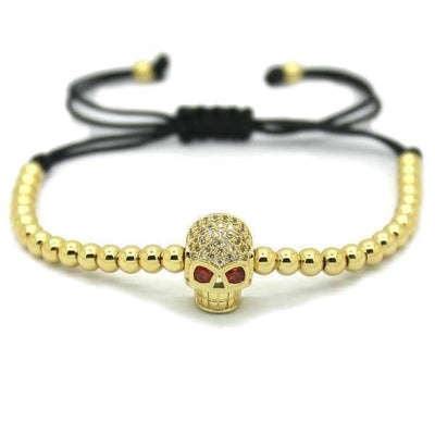 18K Gold Plated Beads Skull Unisex Bracelet [4 Variants] - Ring to Perfection