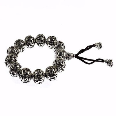 Antique Uchen Silver Prayer Beads Bracelet - Bracelets - Ring to Perfection