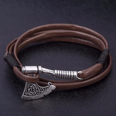 Battle Axe Wraparound Leather Bracelets [2 Variants] - Ring to Perfection