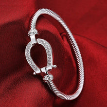 Load image into Gallery viewer, Bracelets Horseshoe Silver Clasp Bangle Bracelet