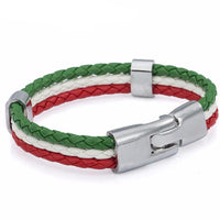 Bracelets - Italian Flag Leather Unisex Bracelet [2 Variants]