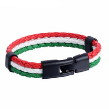 Load image into Gallery viewer, Bracelets Italian Flag Leather Unisex Bracelet