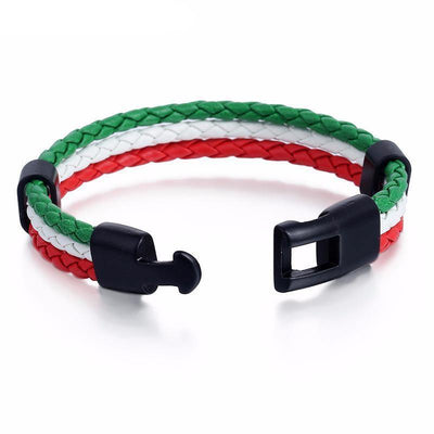 Italian Flag Leather Unisex Bracelet [2 Variants] - Bracelets - Ring to Perfection