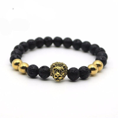 Matte Onyx Natural Stone Lion Men's Bracelet [4 Variants] - Ring to Perfection