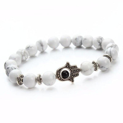 Natural Stone Hamsa Charm Bracelet [8 Variants] - Ring to Perfection