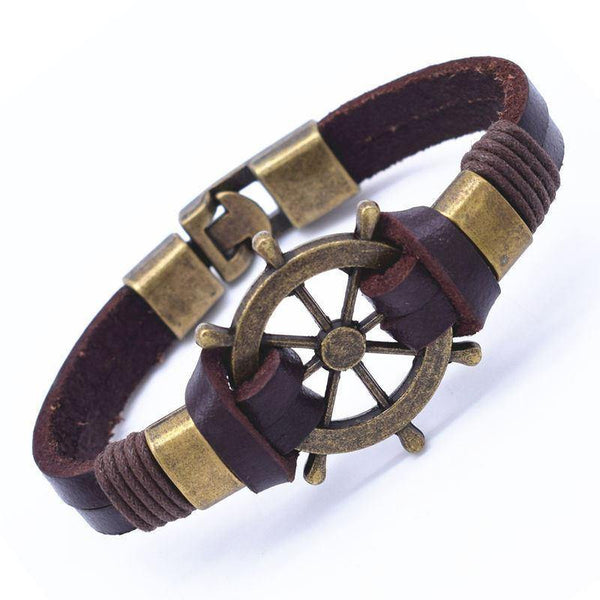 Bracelets - Nautical Charm Leather Wrap Bracelet [15 Variations]