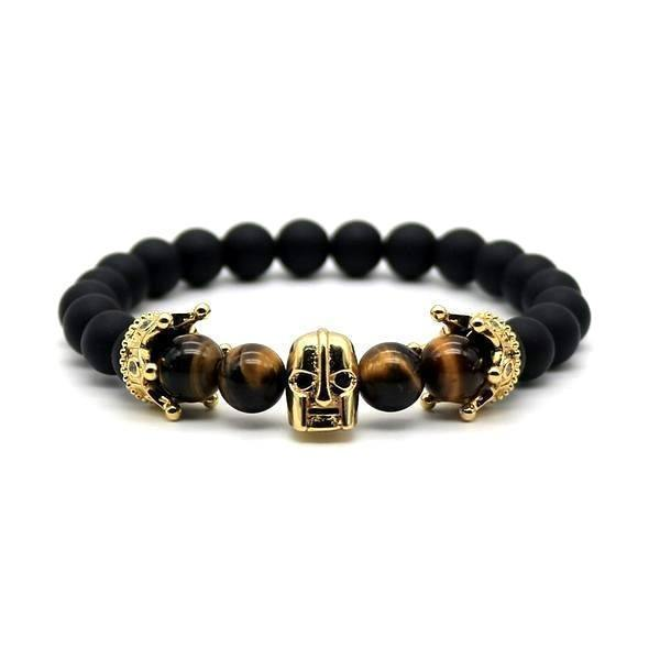 Spartan Skull Tiger Eye Men's Bracelet