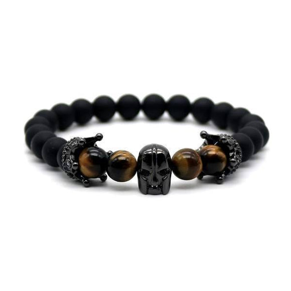 Spartan Skull Tiger Eye Men's Bracelet - Bracelets Ring to Perfection
