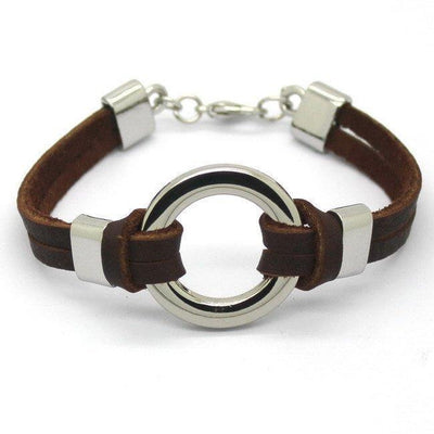 Stainless Steel Circle Genuine Leather Men's Bracelet [2 Variant] - Bracelets - Ring to Perfection