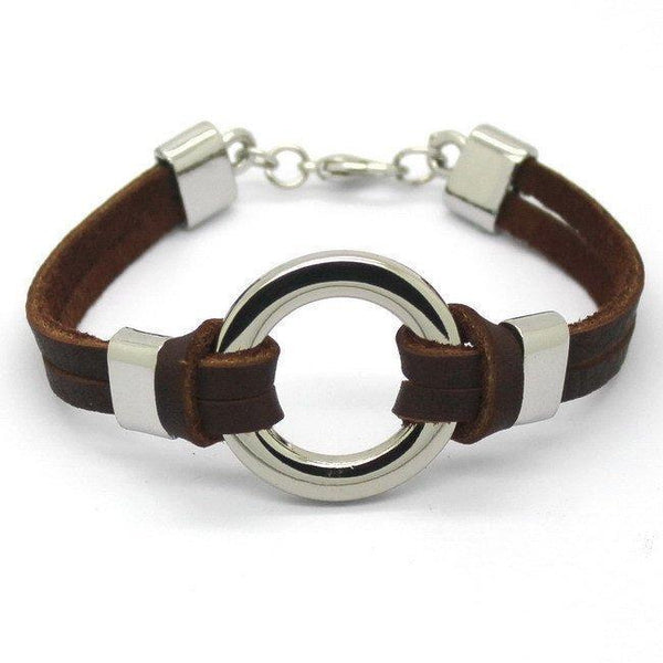 Stainless Steel Circle Genuine Leather Men's Bracelet [Brown - Black] - Ring to Perfection