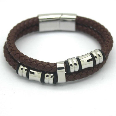 Stainless Steel Genuine Leather Men's Bracelet [2 Variants] - Ring to Perfection
