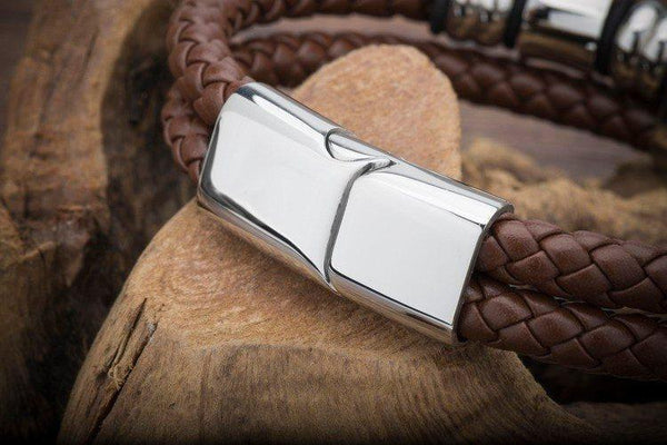 Stainless Steel Genuine Leather Men's Bracelet [Brown - Black] - Ring to Perfection