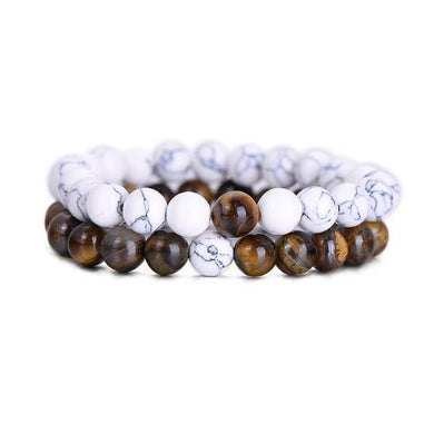 Bracelets Natural Tiger Eye Stone Couple Distance Bracelets [Set of 2]