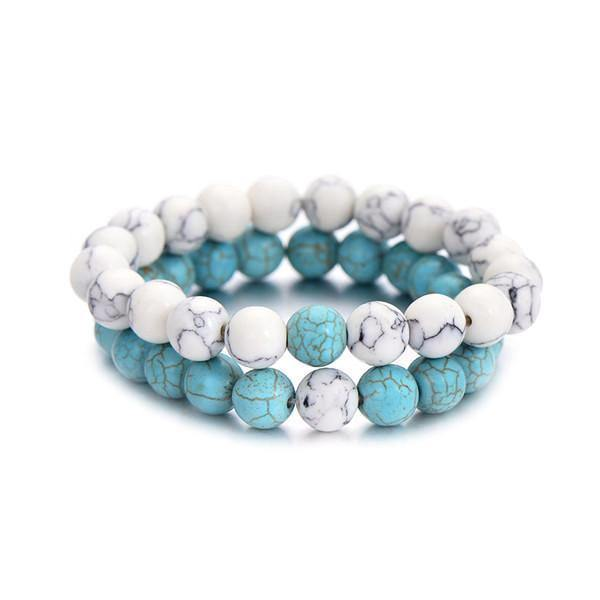 Summer Style Natural Stone Beads Couple Distance Bracelets [Set of 2]