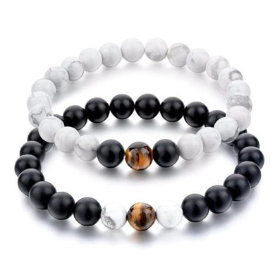 Bracelets Tiger Eye Black Matte Agate and White Howlite Distance Bracelets [Set of 2]