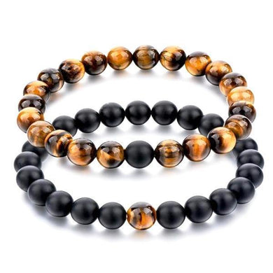 Bracelets Tiger Eye Stone and Black Matte Agate Distance Bracelets [Set of 2]