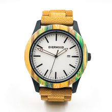 Load image into Gallery viewer, Limited Edition Multi Colored Sandalwood Strap White Face Wood Watch