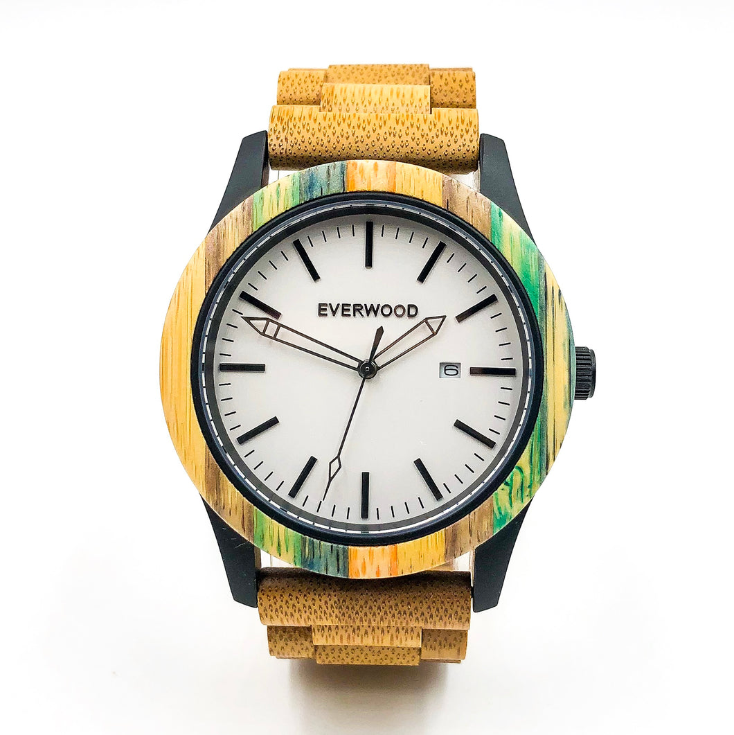 Limited Edition Multi Colored Sandalwood Strap White Face Wood Watch