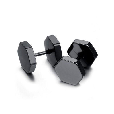 Black Hexagon Double Sided Stud Earrings - Ring to Perfection