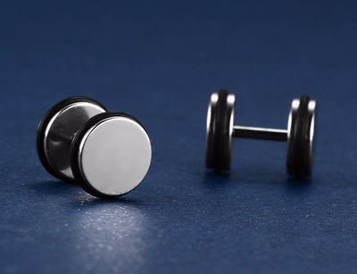Black Rim Stainless Steel Stud Earrings [6 Variants] - Ring to Perfection