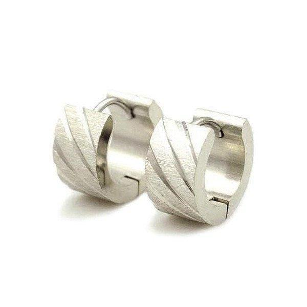 Frosted Stripes Gun Metal Black Cuff Earrings [2 Variants]
