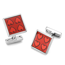Load image into Gallery viewer, Red Hearts Rhodium Cufflinks