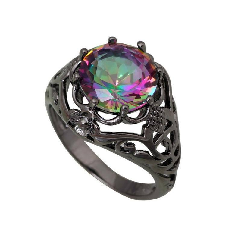 dp rongxing mystic colorful mysteric gold rings jewelry fire com crystal ladies rainbow everything black else amazon opal