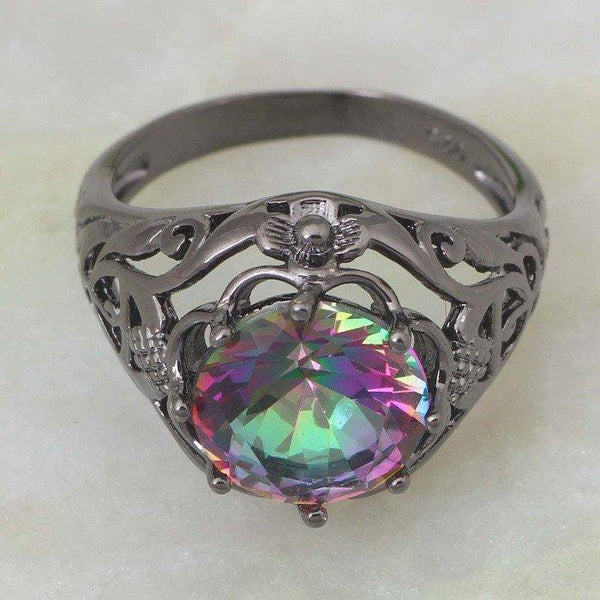 Mystic Topaz Gunmetal Black Ring - Ring to Perfection