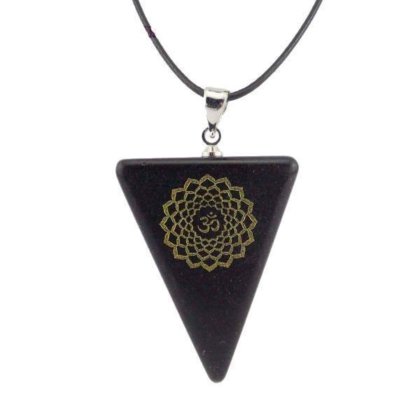 Natural Obsidian Chakra Triangle Pendant Necklace [7 Variants]