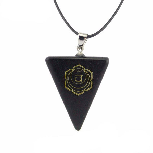 Natural Obsidian Chakra Triangle Pendant Necklace [7 variations] - Ring to Perfection