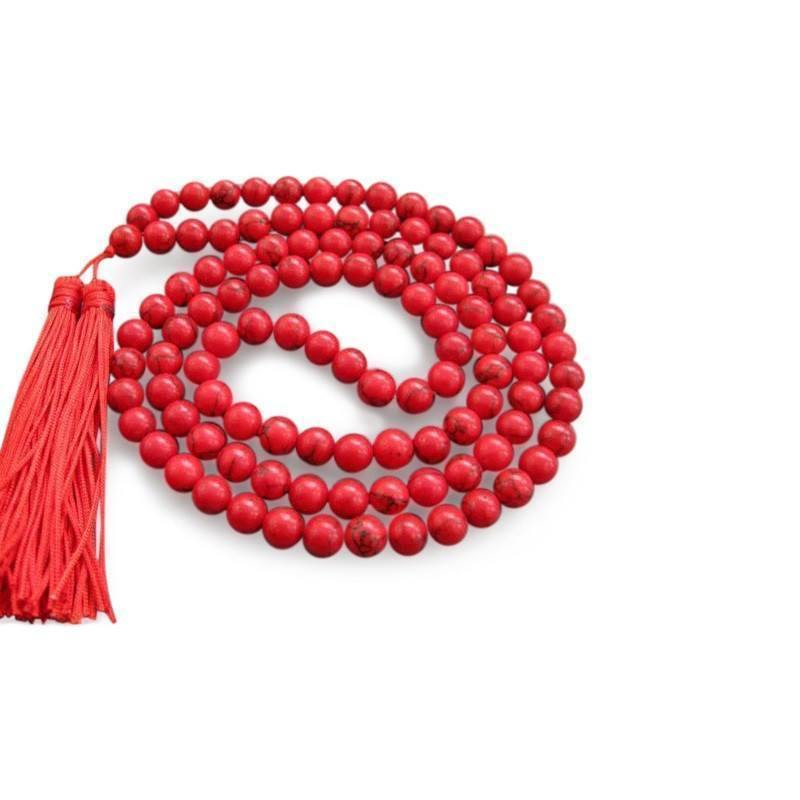 Red Turquoise Mala Beads with Tassels