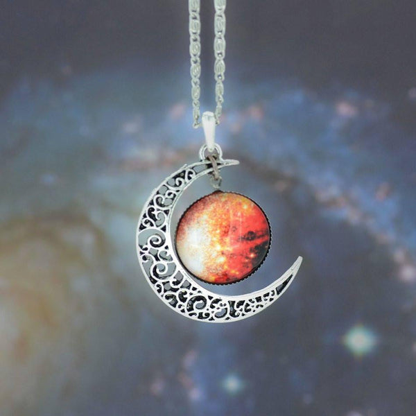 Silver and Glass Galaxy Pendant Necklace [12 variations] - Ring to Perfection