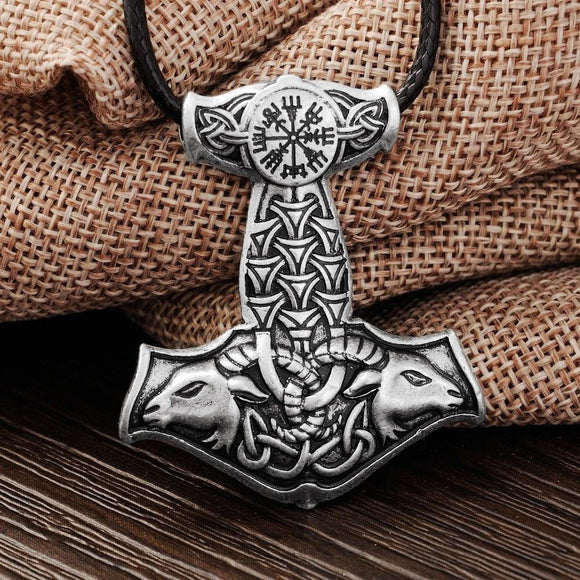 Thor's Hammer Amulet Pendant Necklace with Goat Embellishment - Necklaces Ring to Perfection