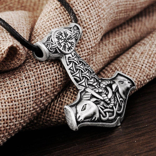 Thor's Hammer Amulet Pendant Necklace with Goat Embellishment - Ring to Perfection