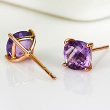 Load image into Gallery viewer, Earrings Natural Amethyst 18K Pure 750 Solid Gold Earrings