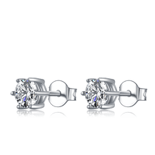 Load image into Gallery viewer, Earrings 5mm Round 6-Prong Moissanite Sterling Silver Stud Earrings
