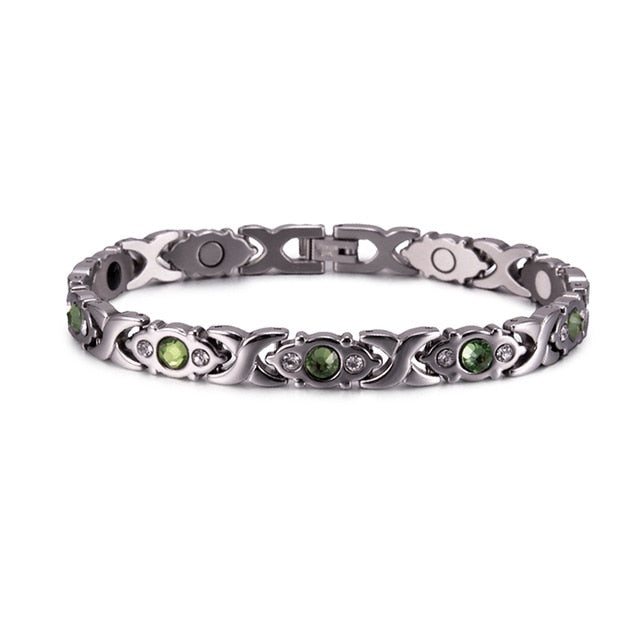 Women's Green CrystalStainless Steel Magnetic Therapy Bracelet
