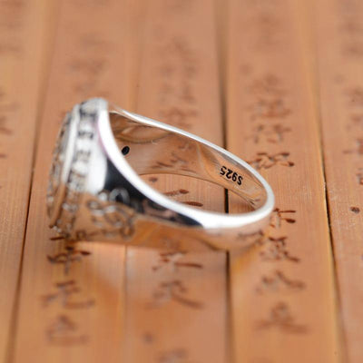 Buddhist Lotus Mantra Solid Silver Ring - Rings - Ring to Perfection