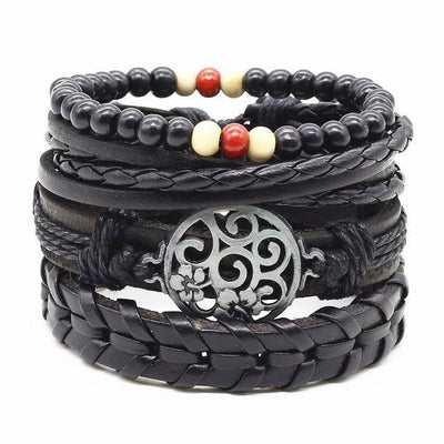 4-in-1 Bead Leather Bracelet Set [Set of 4] [14 Variants] - Bracelets - Ring to Perfection