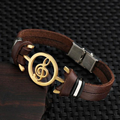 Stainless Steel G Clef Musical Leather Bracelet [6 Variants] - Bracelets Ring to Perfection