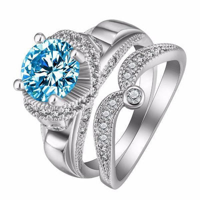 Crystal Dotted White Gold Rings [Set of 2] [8 Colors] - Ring to Perfection