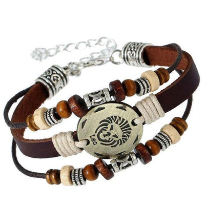 Three-Layered Ethnic Brown Leather Zodiac Bracelet [12 Variants] - Ring to Perfection