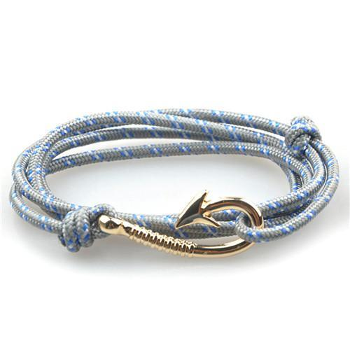 Silver Fish Hook and Rope Men's Bracelet [15 Variants]