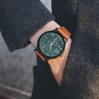 Leather Mathematical Formula Prints Quartz Watch [2 Colors] - Ring to Perfection