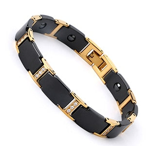 Black and Gold Unisex Magnetic Therapy Bracelet
