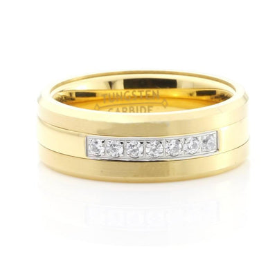 Rings - Crystals Inlay Gold Tungsten Carbide Ring