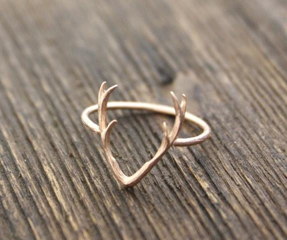 Sterling Silver Minimalist Deer Antler Women's Ring [3 colors] - Ring to Perfection