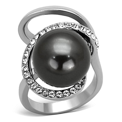 Rings High polished (no plating) Stainless Steel Grey Pearl Ring