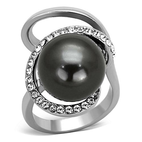 High polished (no plating) Stainless Steel Grey Pearl Ring